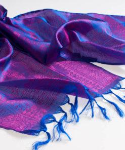 Varanasi Silk Scarf - 24x180cm - Jacquard - Purple / Pink