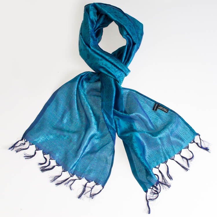 Varanasi Silk Scarf - 24x180cm - Jacquard - Blue / Turquoise