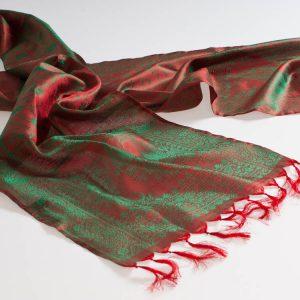 Varanasi Silk Scarf - 24x180cm - Jacquard - Red / Green