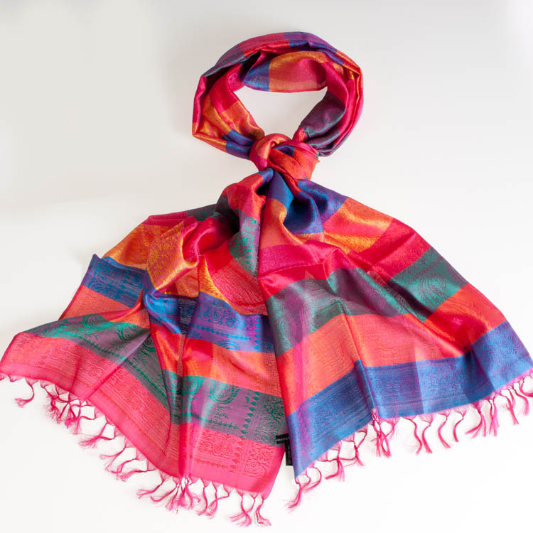 Varanasi Silk Scarf - 55x180cm - Stripey - Pink Turquoise Orange Gold