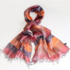 Varanasi Silk Scarf - 55x180cm - Stripey - Red Orange Purple