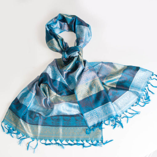Varanasi Silk Scarf - 55x180cm - Stripey - Light & Dark Turquoise