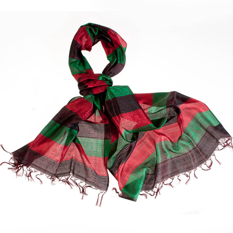 Varanasi Silk Scarf - 55x180cm - Stripey - Brown Green Red