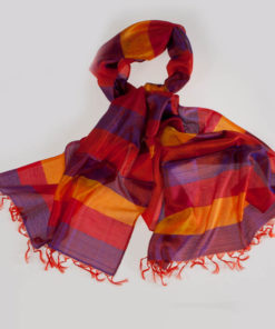 Varanasi Silk Scarf - 55x180cm - Stripey - Yellow Orange Pink Grey