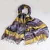 Varanasi Silk Scarf - 55x180cm - Stripey - Yellow Lilac Black