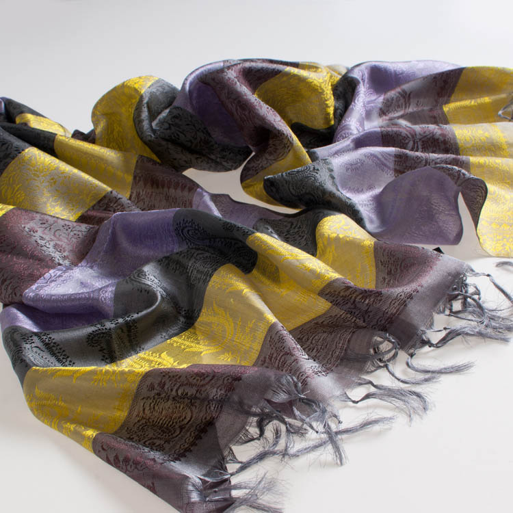 Varanasi Silk Scarf - 55x180cm - Stripey - Yellow Lilac Black