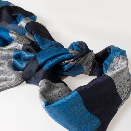 Varanasi Silk Scarf - 55x180cm - Stripey - Blue Grey Black