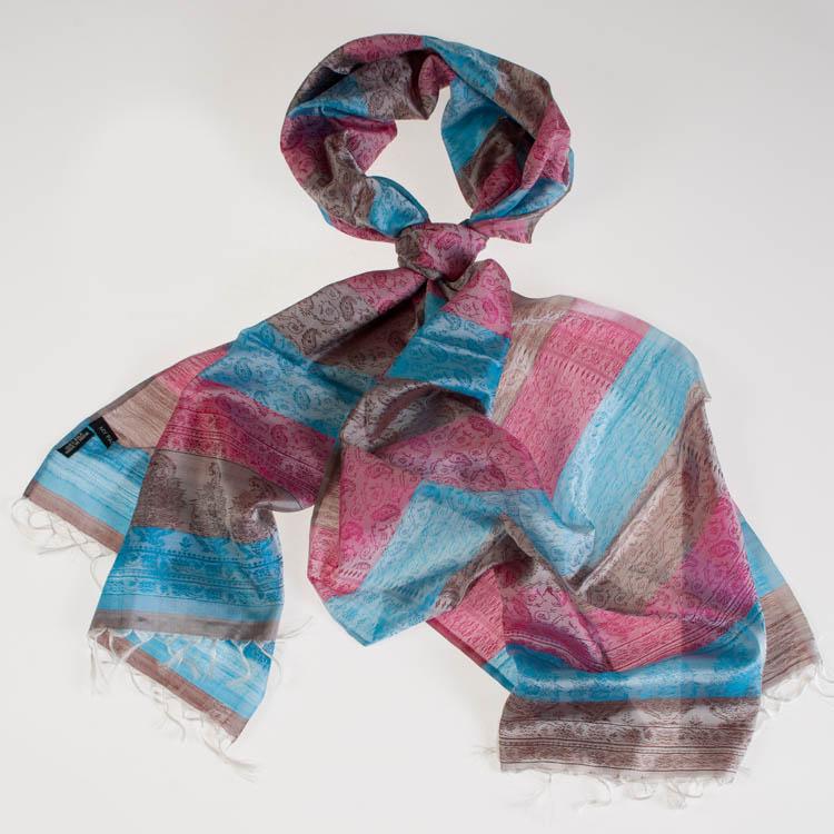 Varanasi Silk Scarf - 55x180cm - Stripey - Silver Turquoise Pink