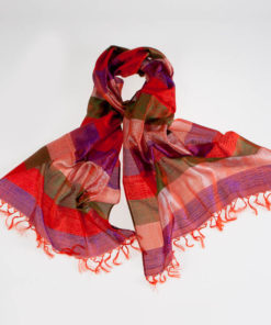 Varanasi Silk Scarf - 55x180cm - Stripey - Peach Red Purple Green
