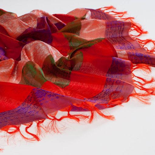 Varanasi Silk Scarf - 55x180cm - Stripey - Peach Red Purple Green