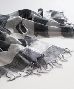 Varanasi Silk Scarf - 55x180cm - Stripey - Silver Grey