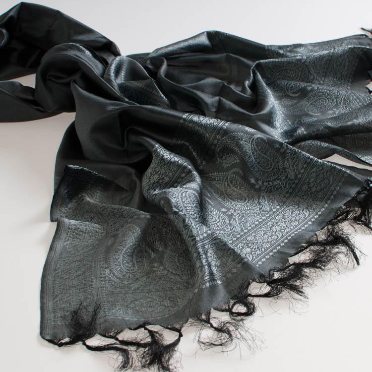 Varanasi Silk Scarf - 55x180cm - Jacquard - Dark Grey / Silver