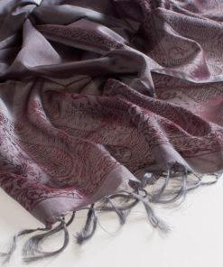 Varanasi Silk Scarf - 55x180cm - Jacquard - Silver / Burgundy