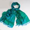 Varanasi Silk Scarf - 55x180cm - Jacquard - Turquoise / Green