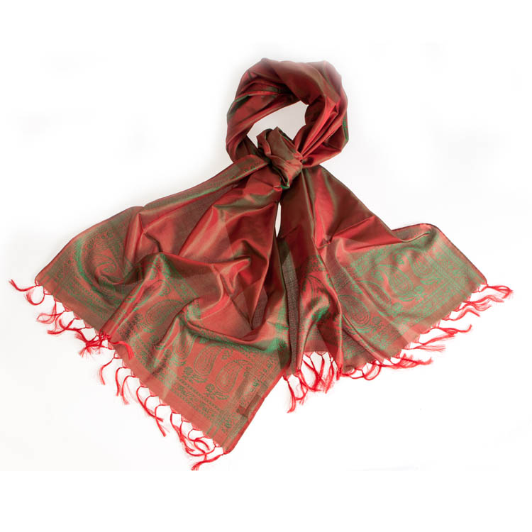 Varanasi Silk Scarf - 55x180cm - Jacquard - Red / Green