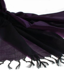 Varanasi Silk Scarf - 55x180cm - Reversible - Purple / Black