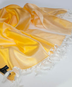 Varanasi Silk Scarf - 55x180cm - Reversible - Lemon / White