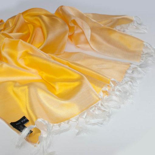 Varanasi Silk Scarf - 55x180cm - Reversible - Lemon / White