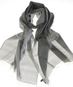 Varanasi Silk Scarf - 55x180cm - Reversible - Black /white (looks Grey)
