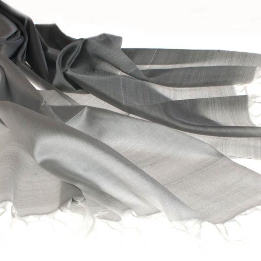 Varanasi Silk Scarf - 55x180cm - Reversible - Black /white (looks Grey)