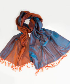 Varanasi Silk Scarf - 55x180cm - Reversible - Turquoise / Orange