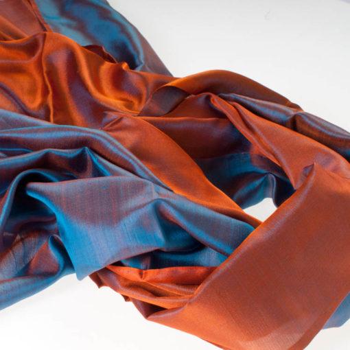 Varanasi Silk Scarf - 55x180cm - Reversible - Turquoise / Orange
