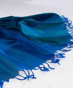 Varanasi Silk Scarf - 55x180cm - Reversible - Strong Blue / Emerald