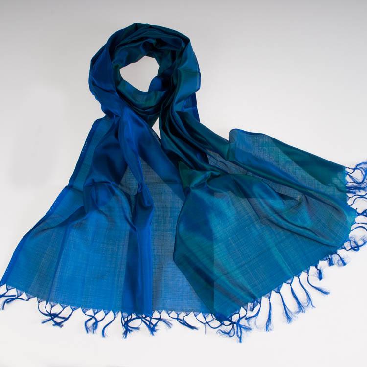 Varanasi Silk Scarf - 55x180cm - Reversible - Strong Blue / Emerald
