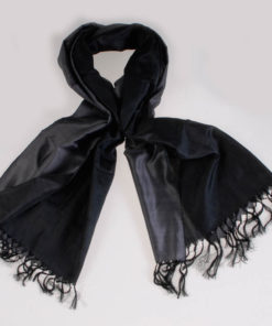 Varanasi Silk Scarf - 55x180cm - Reversible - Charcoal / Black
