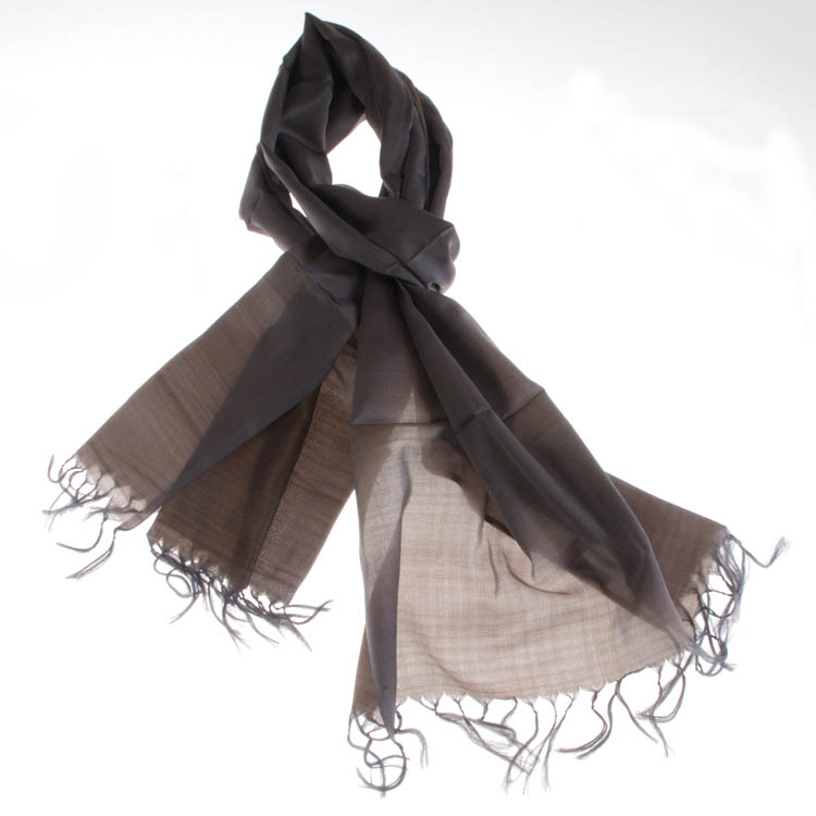 Varanasi Silk Scarf - 55x180cm - Reversible - Bluegrey/Saffronbrown