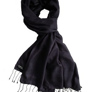 Pure Silk Scarf (210 Quality) - 60x190cm - Black