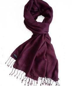 Pure Silk Scarf (210 Quality) - 60x190cm - Burgundy
