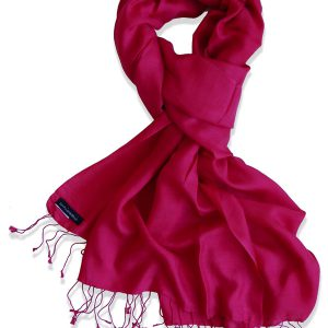 Pure Silk Scarf (210 Quality) - 60x190cm - Crimson