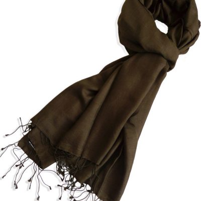 Pure Silk Scarf (210 Quality) - 60x190cm - Sepia