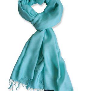 Pure Silk Scarf (210 Quality) - 60x190cm - Eggshell Blue