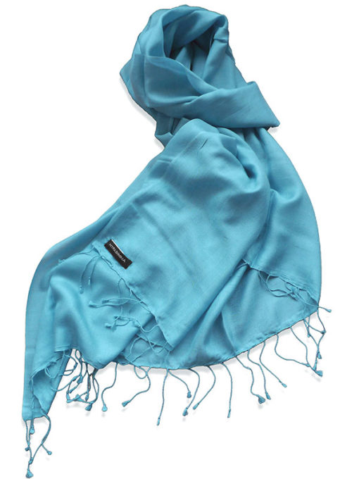 Pure Silk Scarf (210 Quality) - 60x190cm - Adriatic Blue