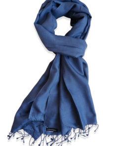 Pure Silk Scarf (210 Quality) - 60x190cm - Nightshadow Blue