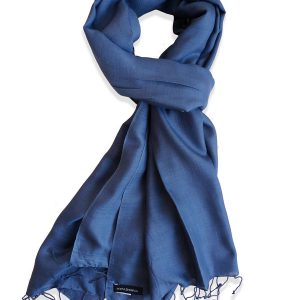 Pure Silk Scarf (210 Quality) - 60x190cm - Nightshadow Blue