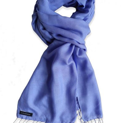 Pure Silk Scarf (210 Quality) - 60x190cm - Blue Iris