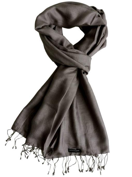 Pure Silk Scarf (210 Quality) - 60x190cm - Peppercorn
