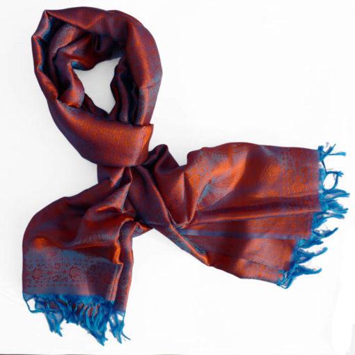 Varanasi Silk Scarf - Orange/Blue - 26x180cm