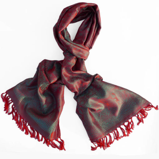 Varanasi Silk Scarf - Red/Blue - 26x180cm