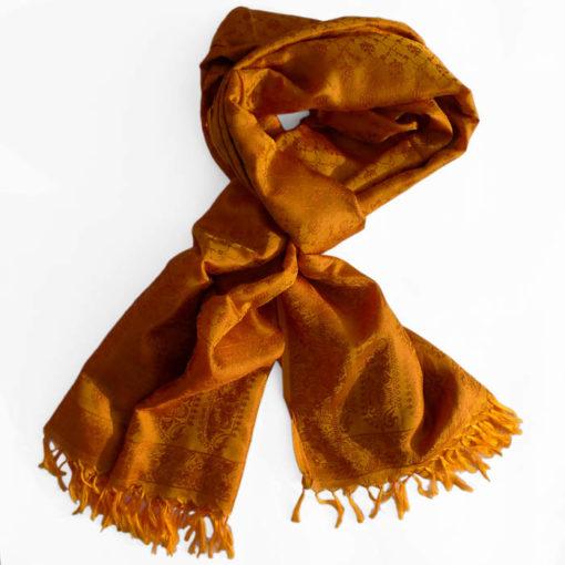 Varanasi Silk Scarf - Saffron - 26x180cm
