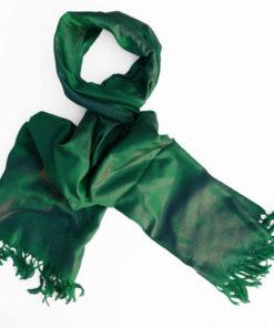 Varanasi Silk Scarf - Evergreen - 26x180cm