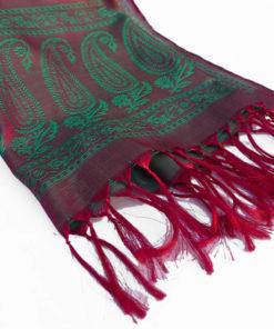 Varanasi Silk Scarf - Red/Green - 26x180cm