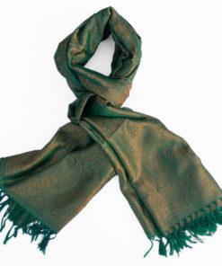 Varanasi Silk Scarf - Green/Beige - 26x180cm