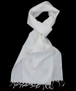 Varanasi Silk Scarf - White - 26x180cm