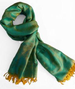 Varanasi Silk Scarf - Turquoise/Yellow - 26x180cm