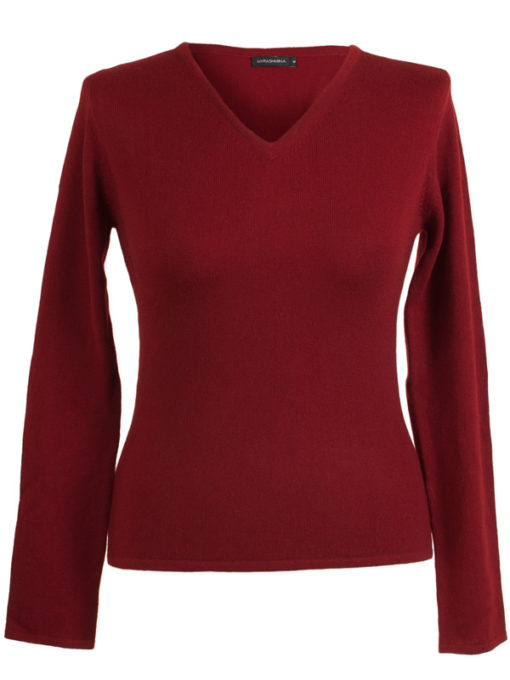 Ladies Fitted V-Neck - XL - 100% Cashmere - Rich Red