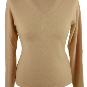 Ladies Fitted V-Neck - Small - 100% Cashmere - Sand